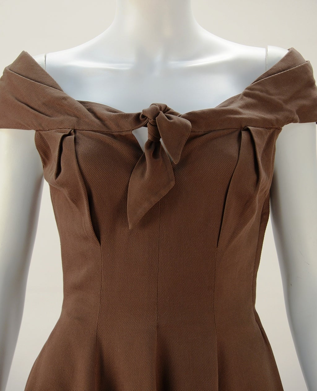 1930's Claire McCardell Brown Boatneck Dress 3