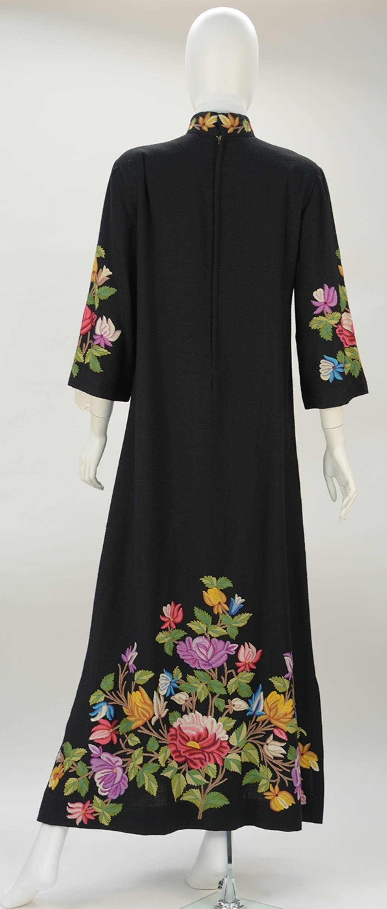 1950s Black Crewel Embroidered Dress at 1stdibs