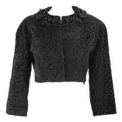 1950s Hattie Carnegie Black Persian Lamb Jacket