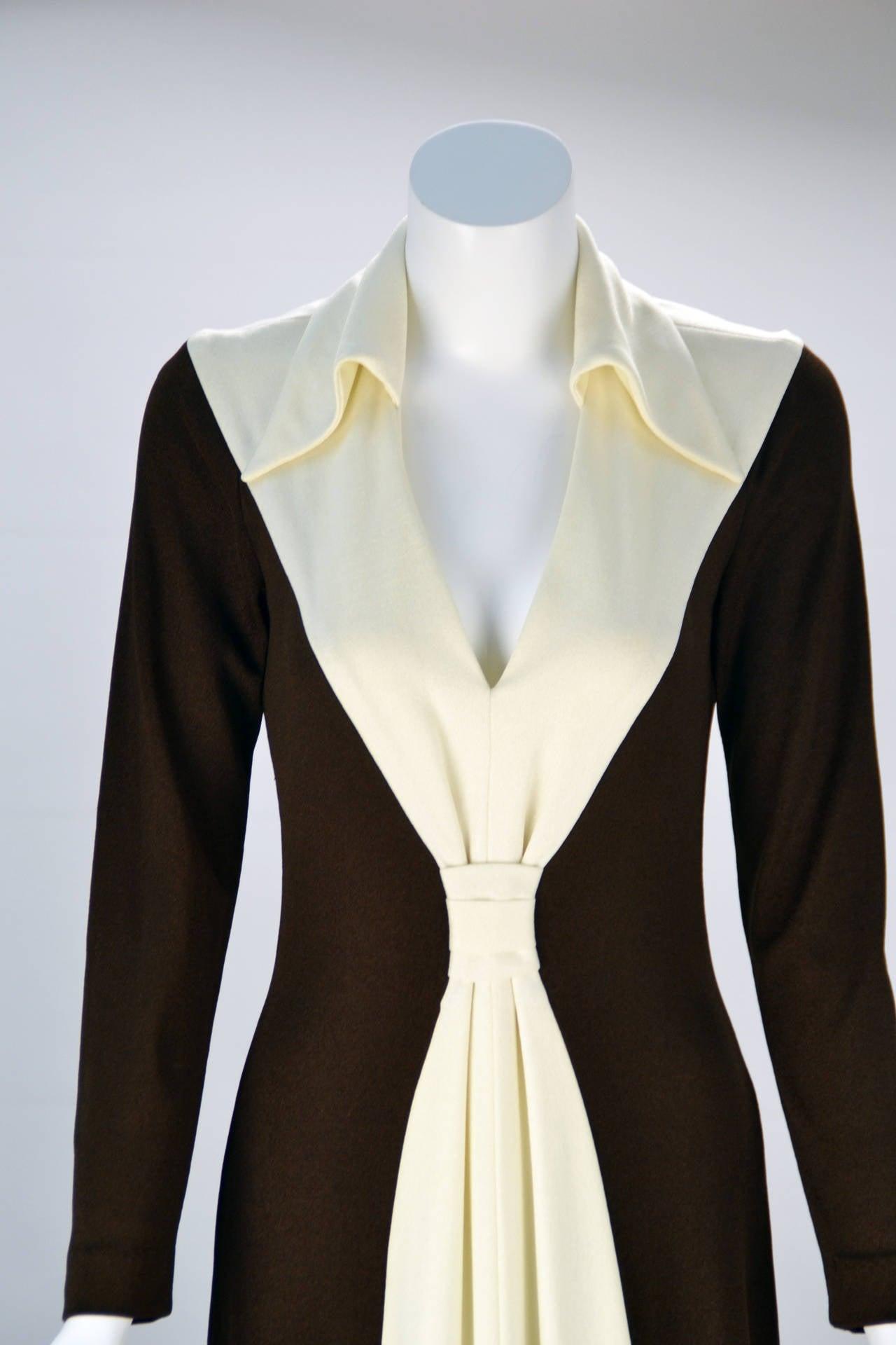 1970s Estévez Color Block Hourglass Dress In Excellent Condition For Sale In Houston, TX