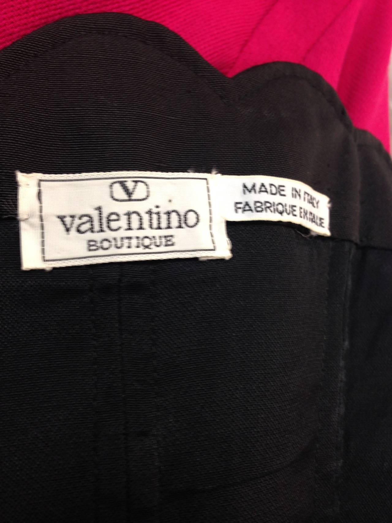 1980s Black Valentino Scalloped Edge Dress For Sale 1