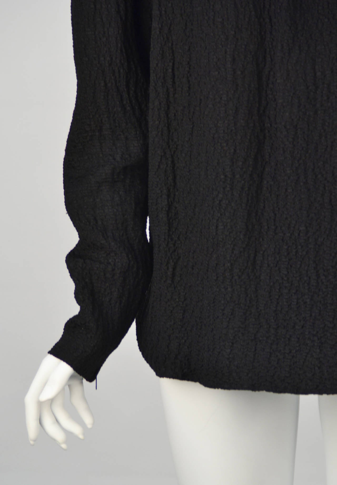 1970s Yves Saint Laurent Black Blouse In Excellent Condition For Sale In Houston, TX