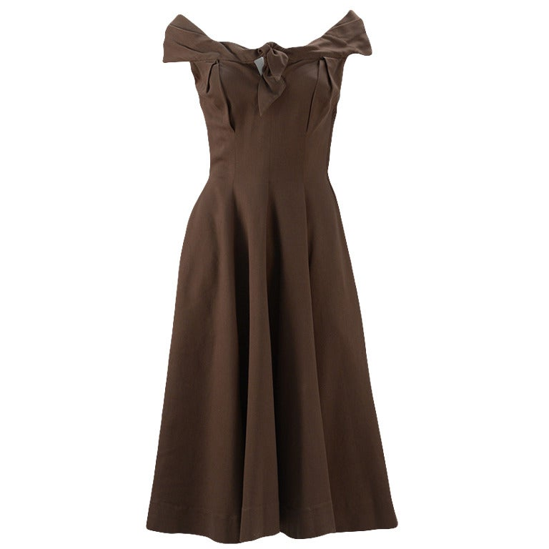 1930's Claire McCardell Brown Boatneck Dress 1