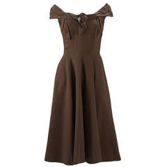 1930's Claire McCardell Brown Boatneck Dress
