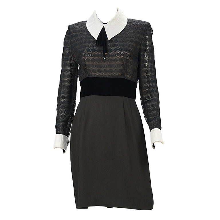 1980s Patricia Rhodes Black Dress For Sale