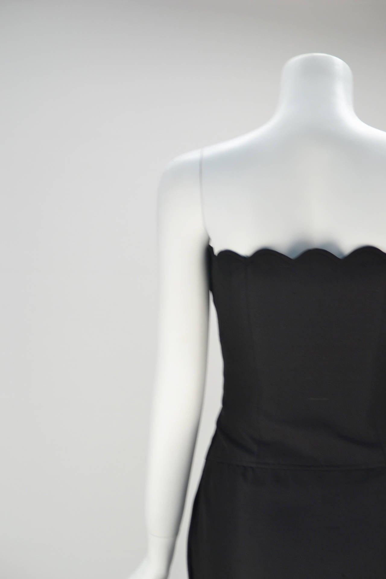 Women's 1980s Black Valentino Scalloped Edge Dress For Sale
