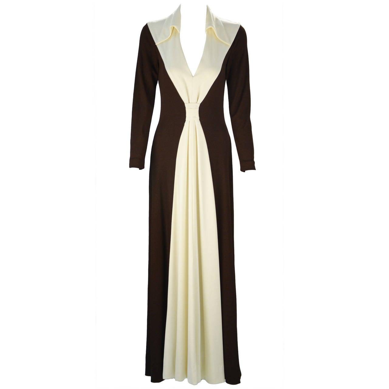 1970s Estévez Color Block Hourglass Dress For Sale
