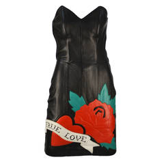 1990's Michael Hoban North Beach True Love Leather Dress