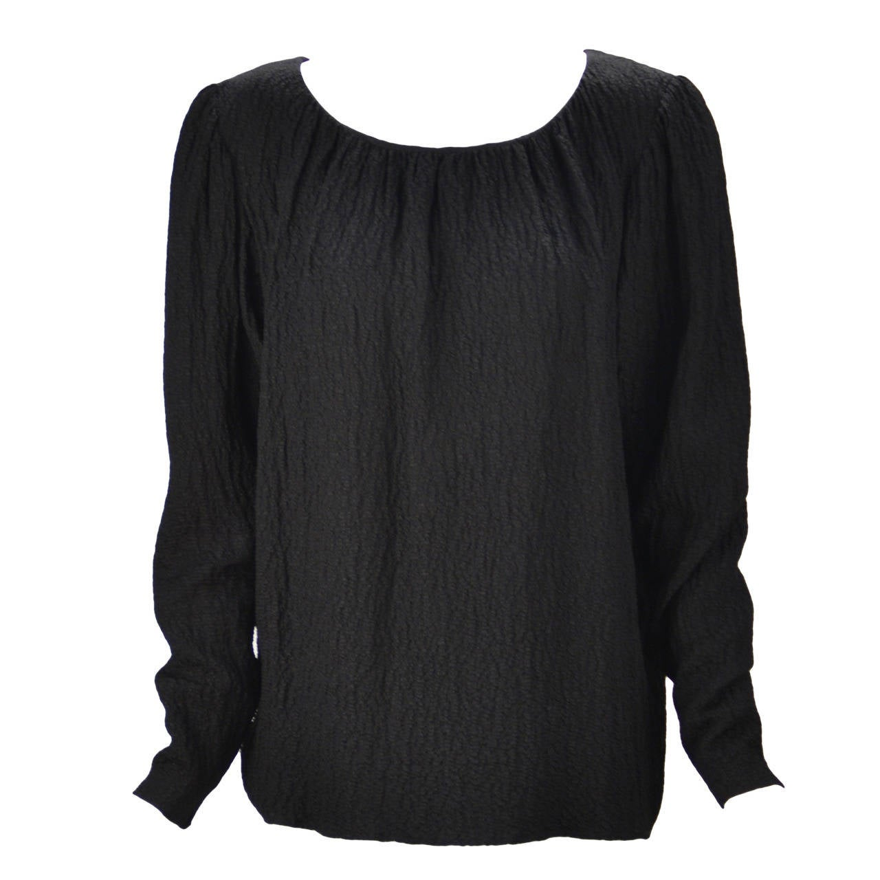 1970s Yves Saint Laurent Black Blouse 1