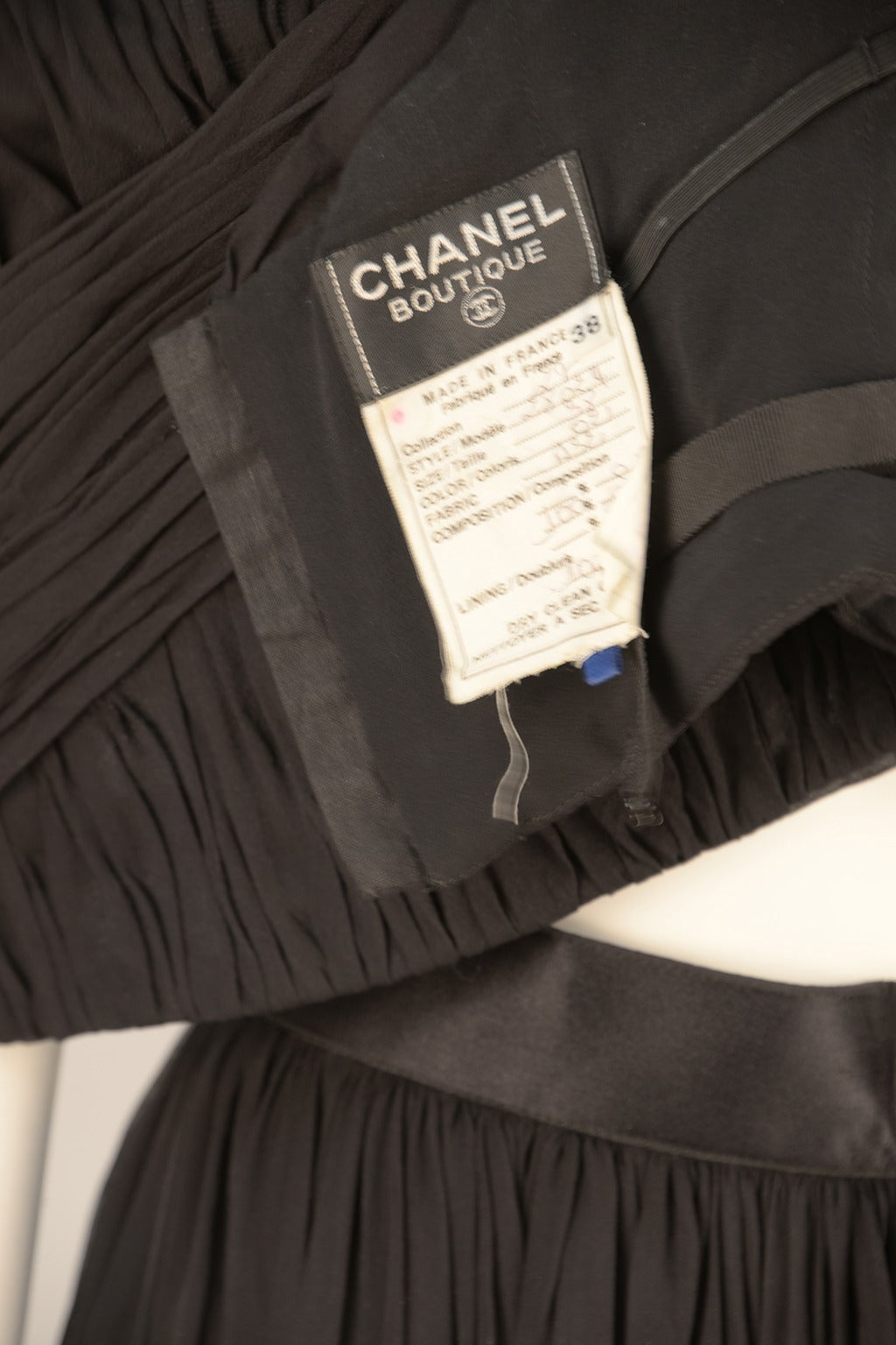 1980s Chanel Black Silk Ensemble For Sale 2