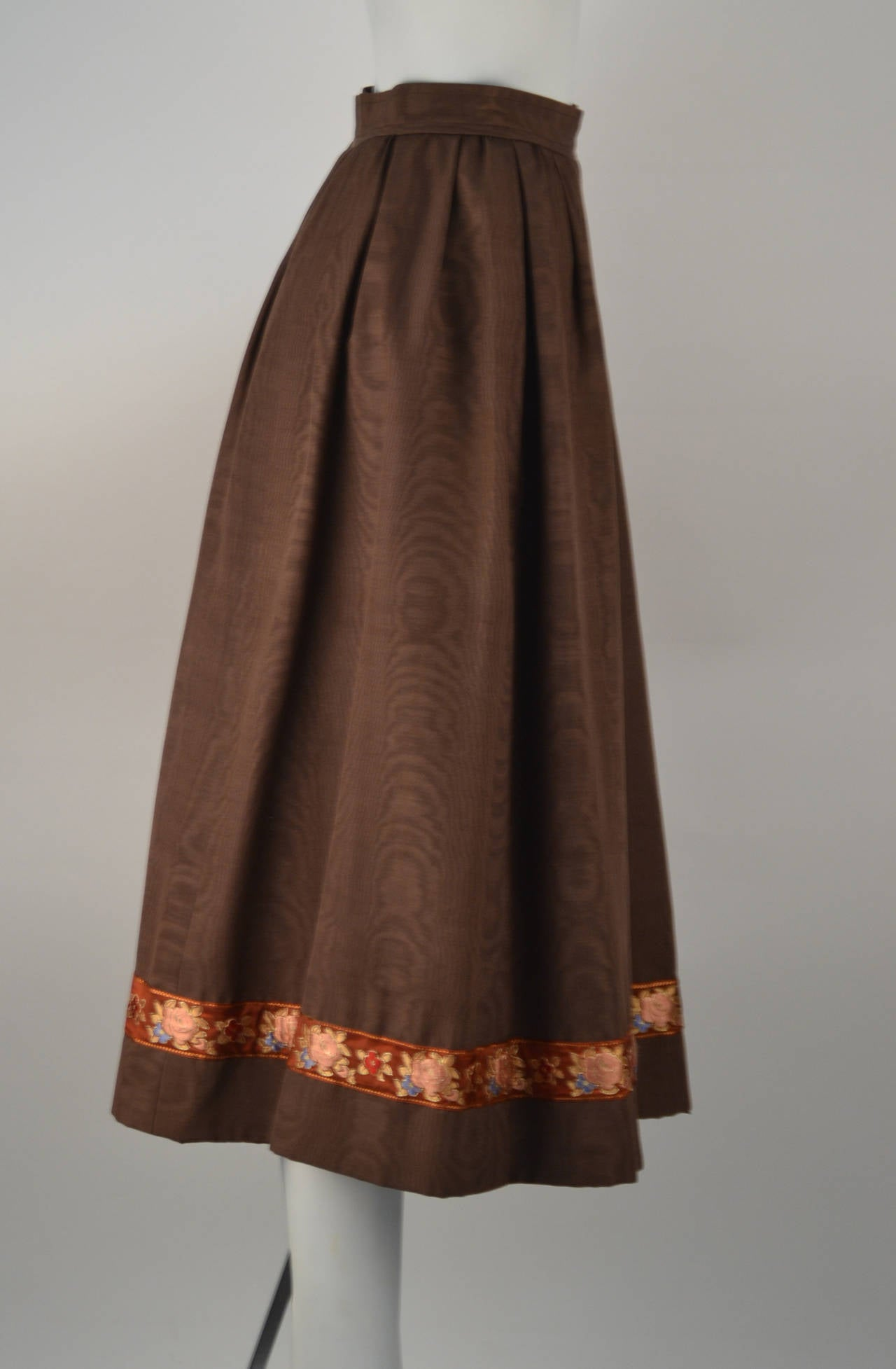 1970's Yves Saint Laurent Brown Moiré Embroidered Skirt In Excellent Condition For Sale In Houston, TX