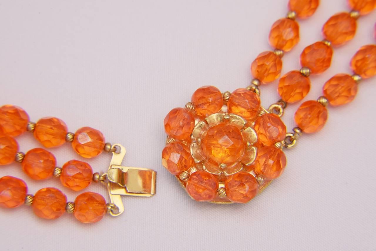 1960s Hattie Carnegie Tangerine Glass Bead Necklace and Earrings 2
