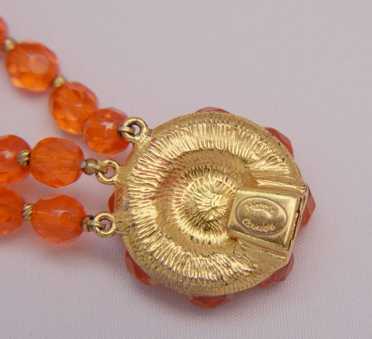 1960s Hattie Carnegie Tangerine Glass Bead Necklace and Earrings 3