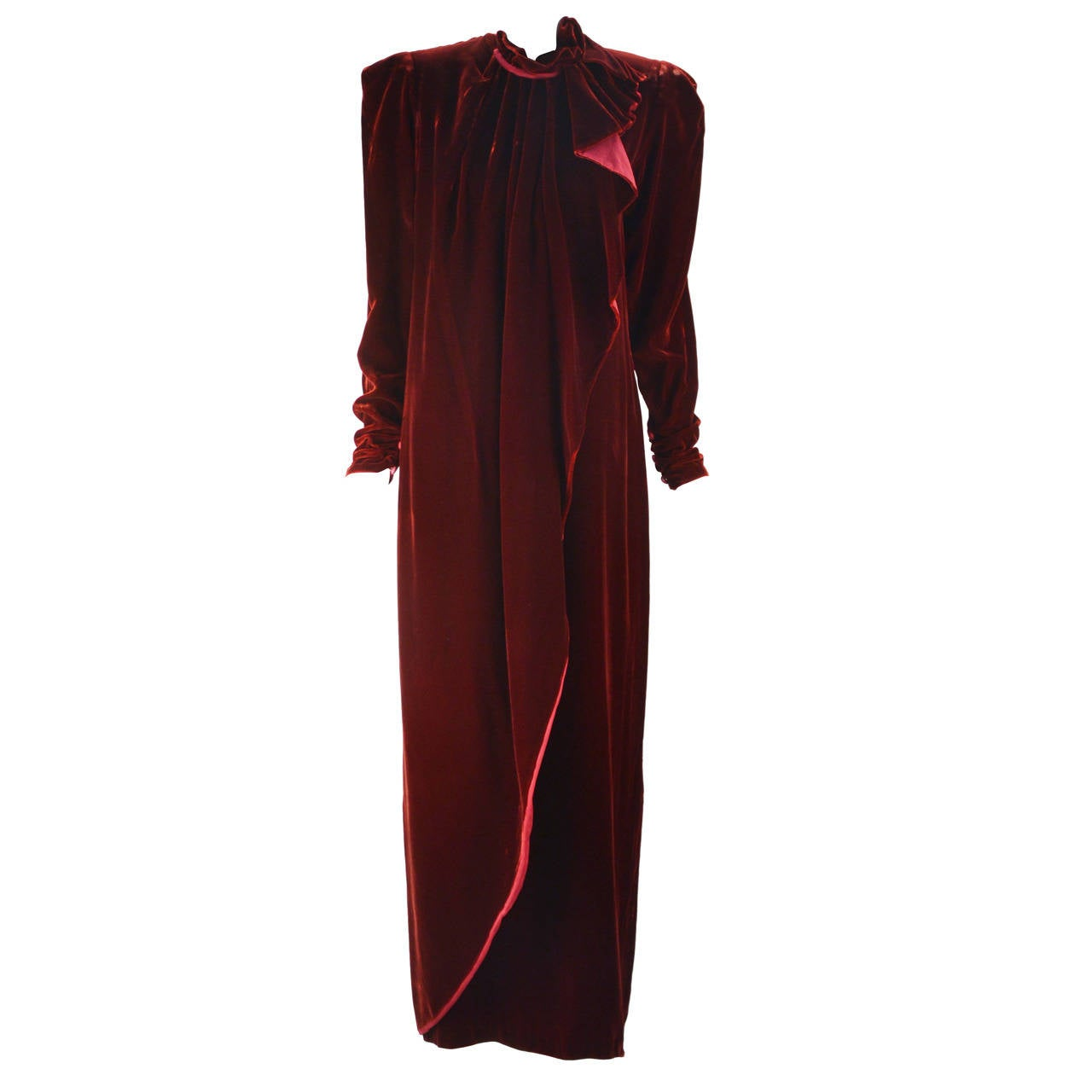 1980s Sant Angelo Wine Velvet Gown For Sale