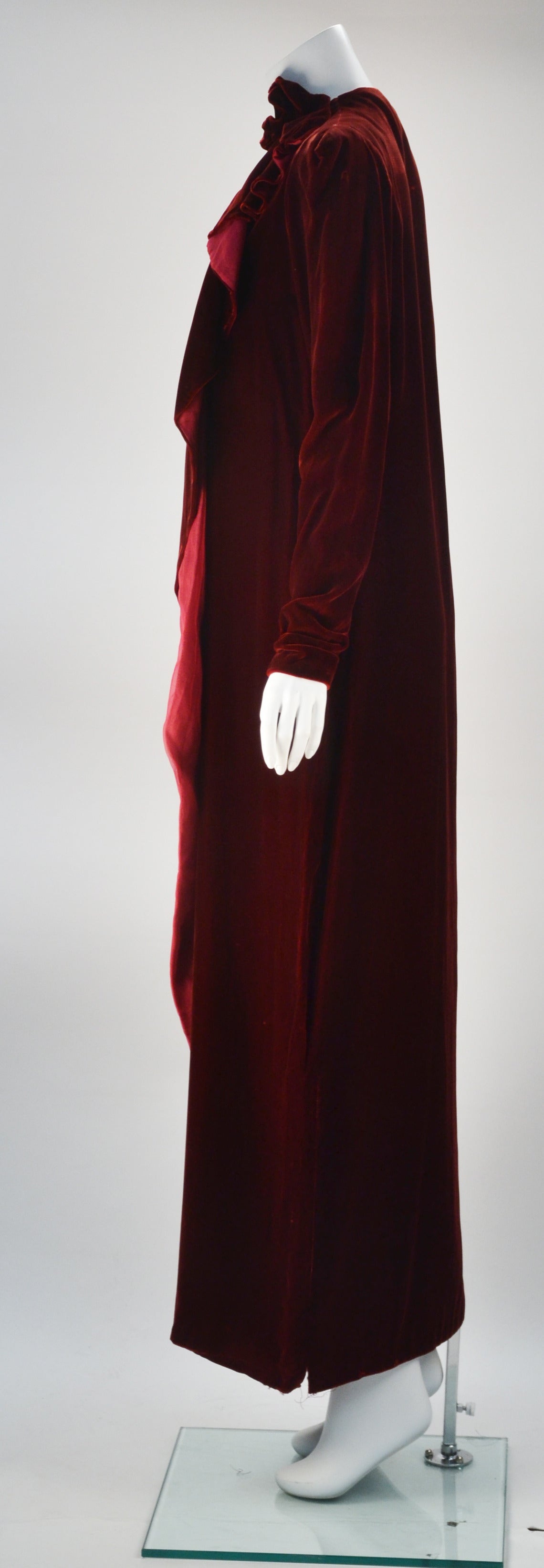 1980s Sant Angelo Wine Velvet Gown In Excellent Condition For Sale In Houston, TX