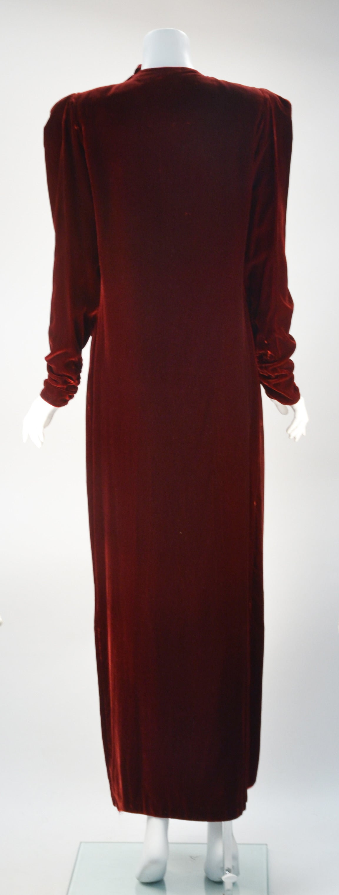 Black 1980s Sant Angelo Wine Velvet Gown For Sale