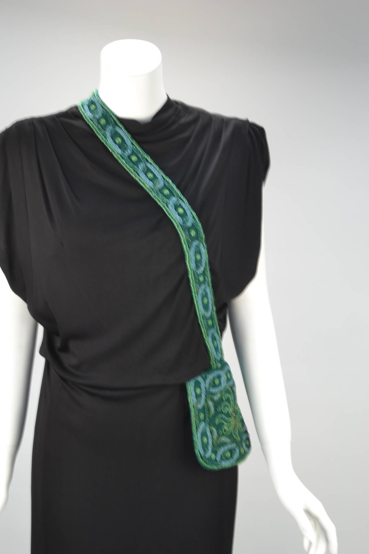 1940s Anita Modes Black Dress with Green Beaded and Appliquéd Purse 1