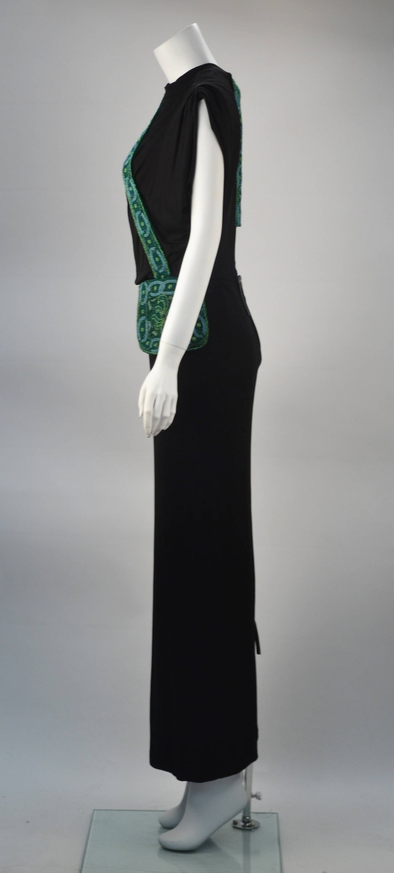 Women's 1940s Anita Modes Black Dress with Green Beaded and Appliquéd Purse