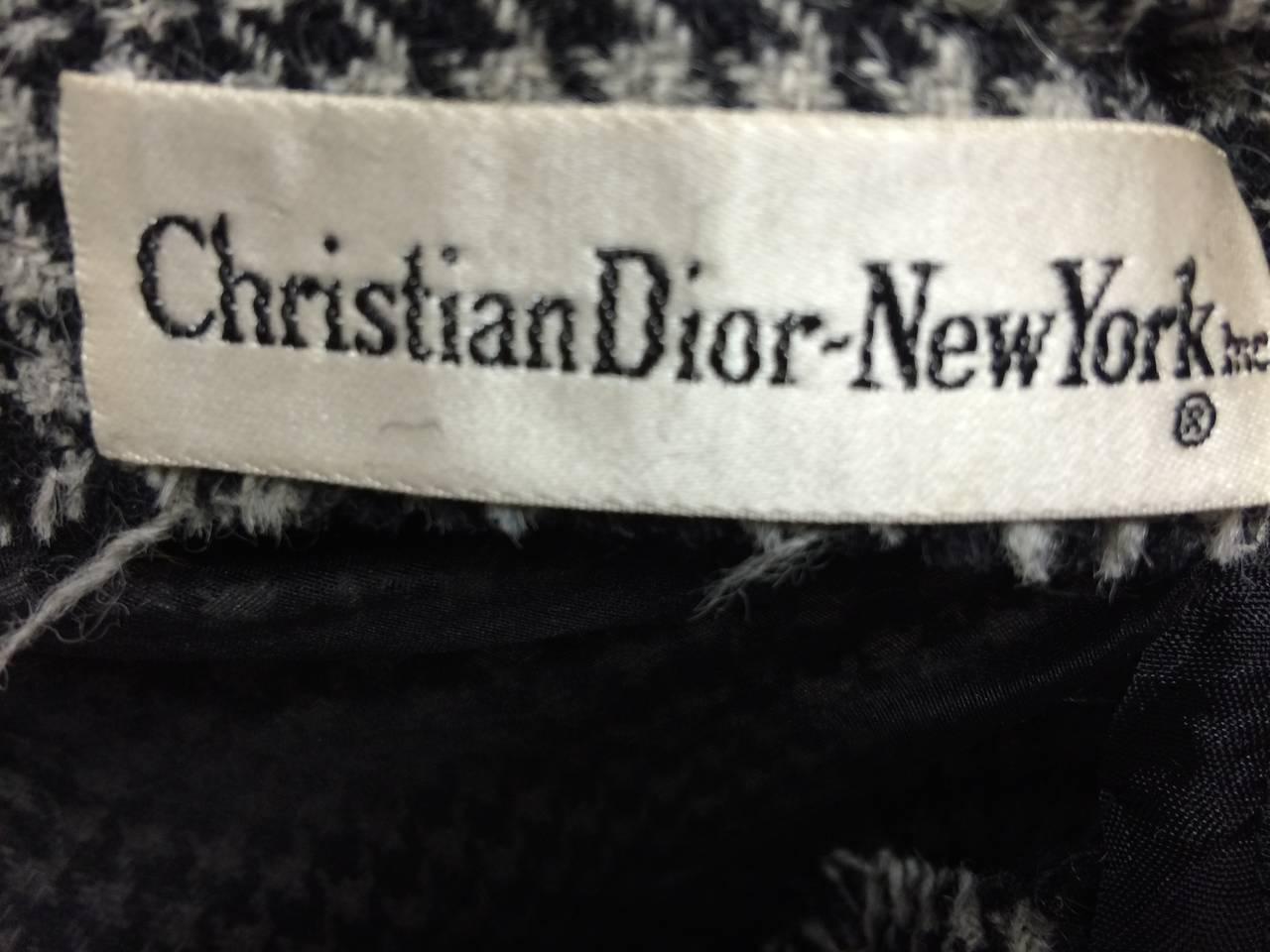 Women's 1950s Christian Dior Houndstooth Designer Cape and Dress Set For Sale
