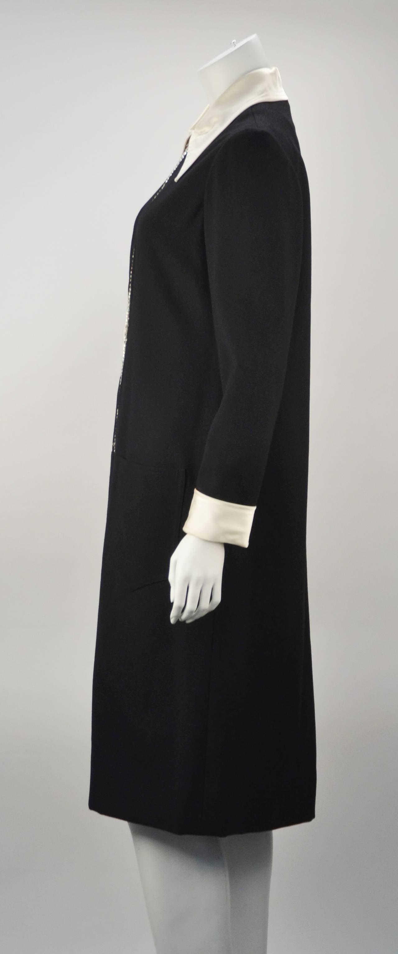 1970s Oscar de La Renta Black Jeweled Center Dress In Excellent Condition For Sale In Houston, TX