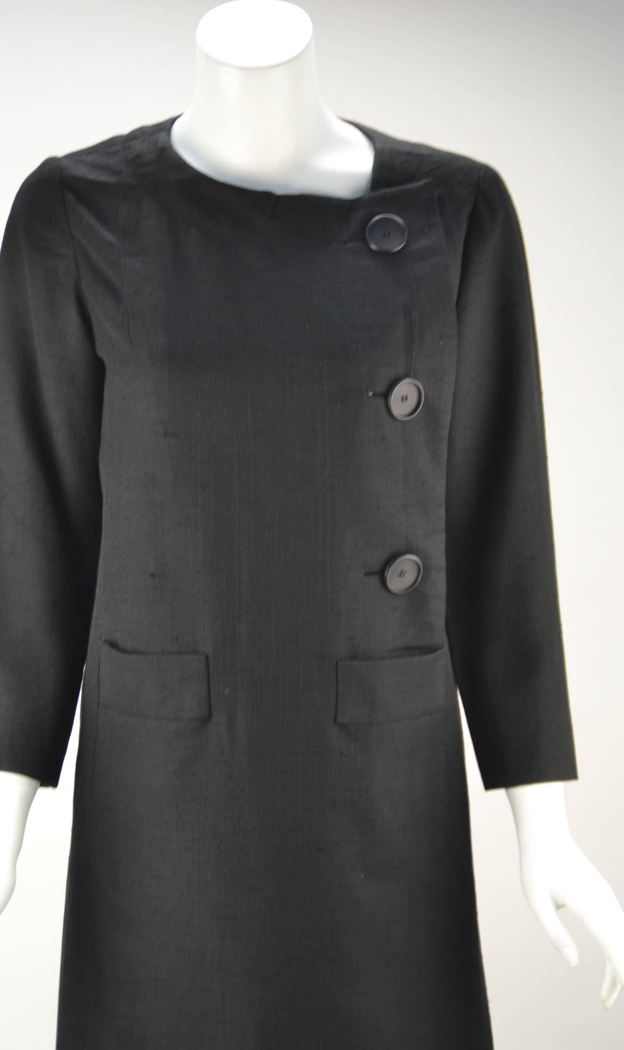 Women's 1960s Pierre Cardin Black Linen Dress for Takashimaya For Sale