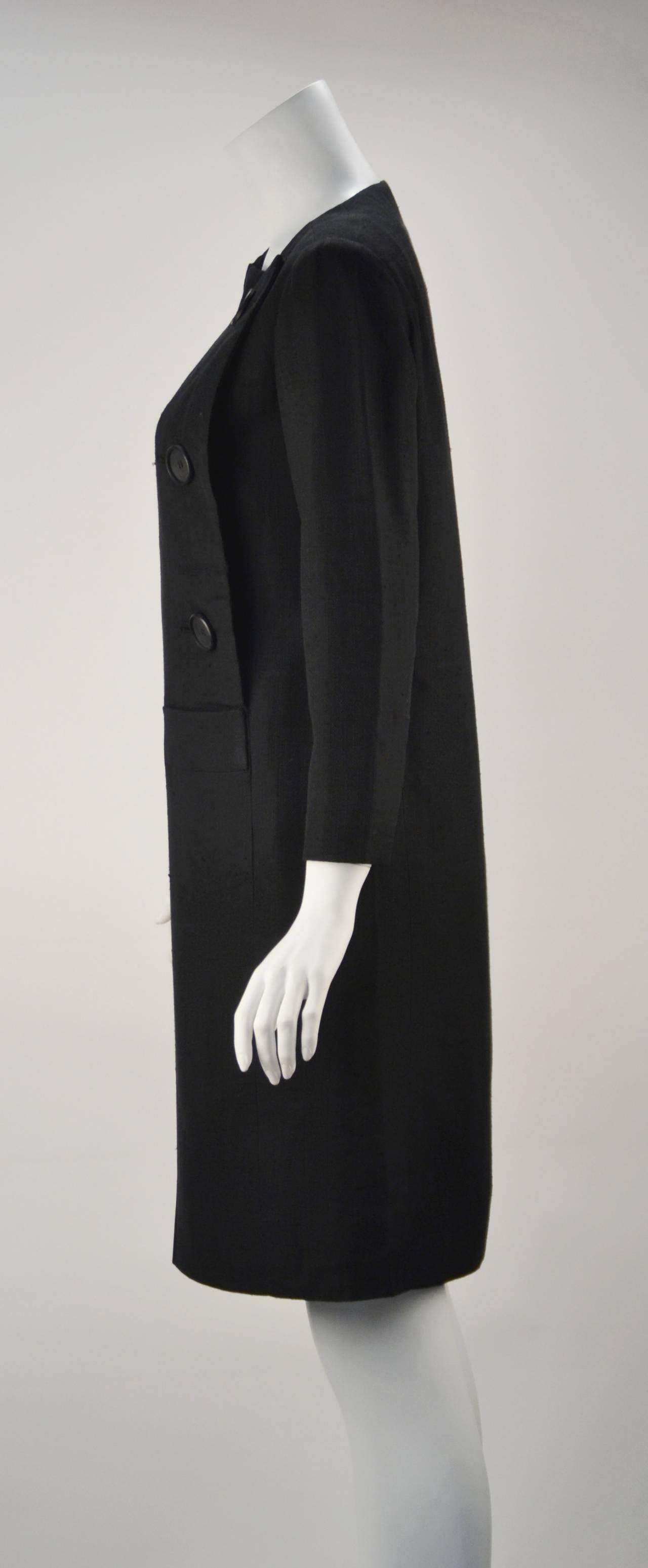 1960s Pierre Cardin Black Linen Dress for Takashimaya In Excellent Condition For Sale In Houston, TX