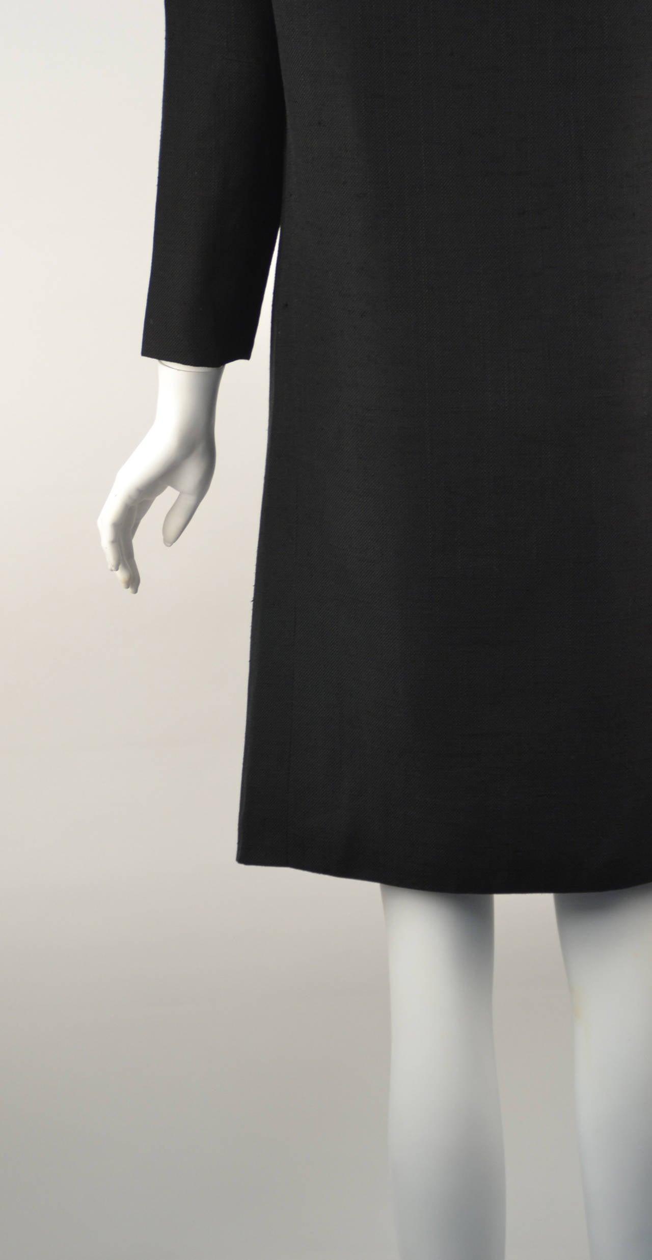 1960s Pierre Cardin Black Linen Dress for Takashimaya For Sale 1