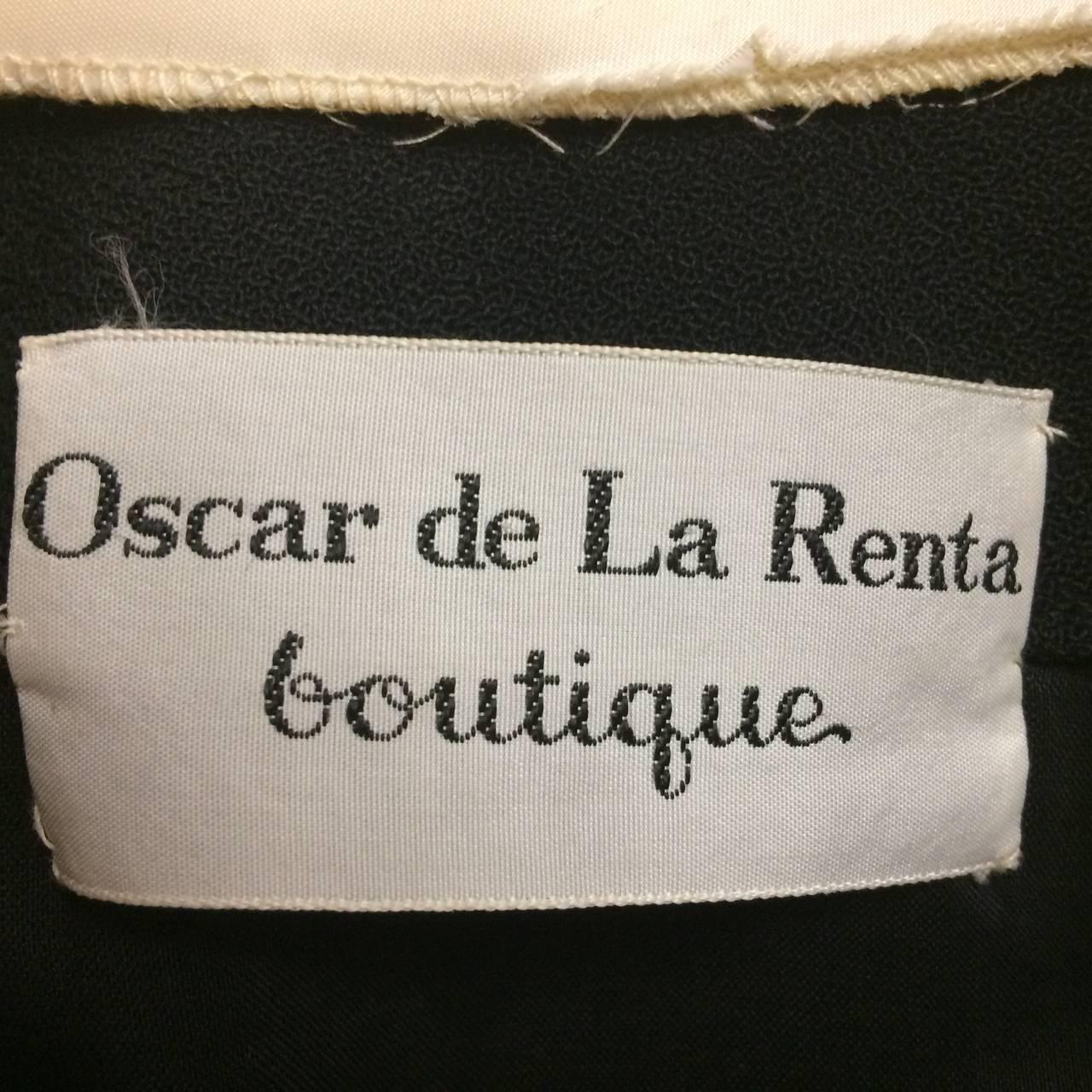 1970s Oscar de La Renta Black Jeweled Center Dress For Sale 1