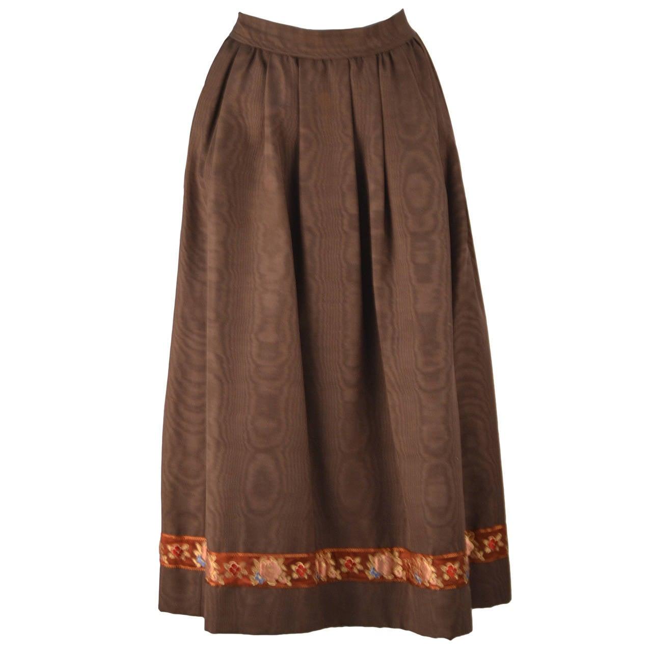 1970's Yves Saint Laurent Brown Moiré Embroidered Skirt