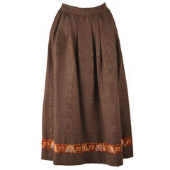 1970's Yves Saint Laurent Brown Moiré Embroidered Skirt