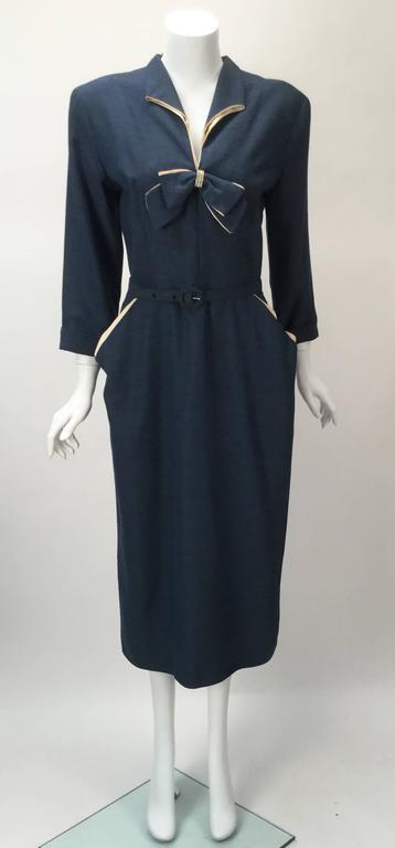 1940s Mar Tee Original Cadet Blue Dress  3