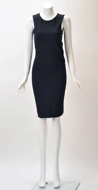 2011 Gucci Asymmetrical Open Back Black Knit Dress In Excellent Condition For Sale In Houston, TX