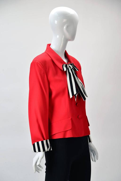 "Moschino ""Cheap and Chic""  Red Blazer with Black/White Striped Bow  2"