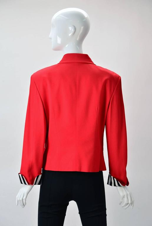 "Moschino ""Cheap and Chic""  Red Blazer with Black/White Striped Bow  3"