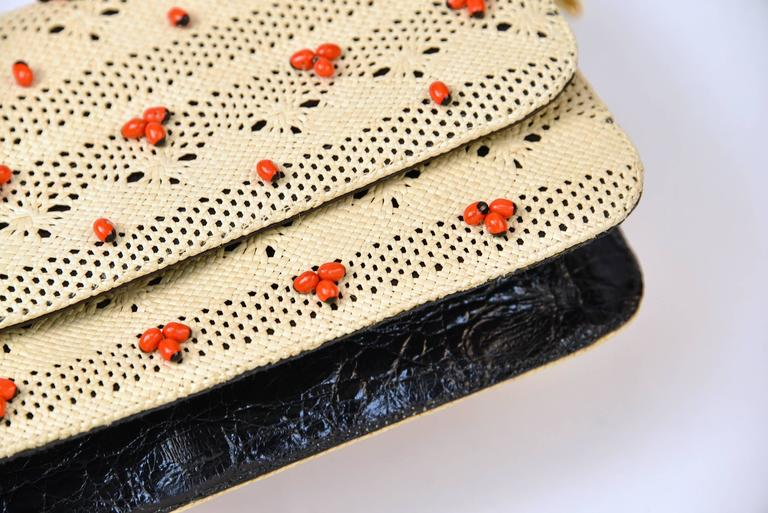 Orange Nancy Gonzales Tan Woven Beaded Clutch with Crocodile Leather For Sale
