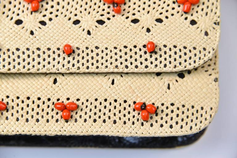 Nancy Gonzales Tan Woven Beaded Clutch with Crocodile Leather In Excellent Condition For Sale In Houston, TX