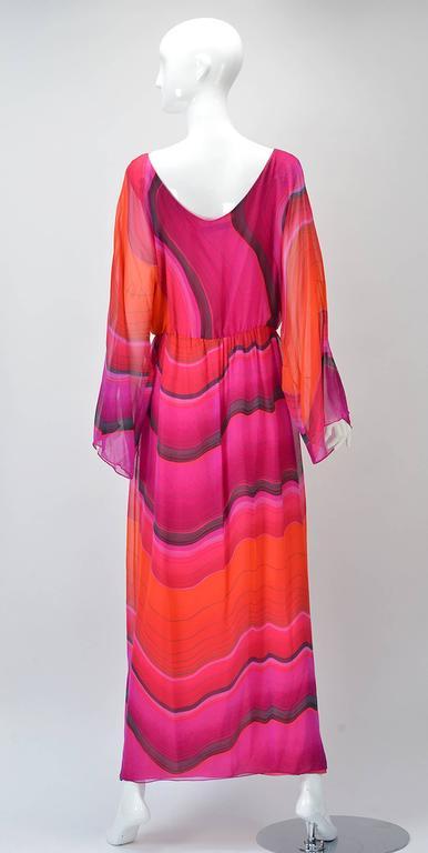 1980s Hanae Mori Silk Sunset Colored Kimono Sleeve Dress  3
