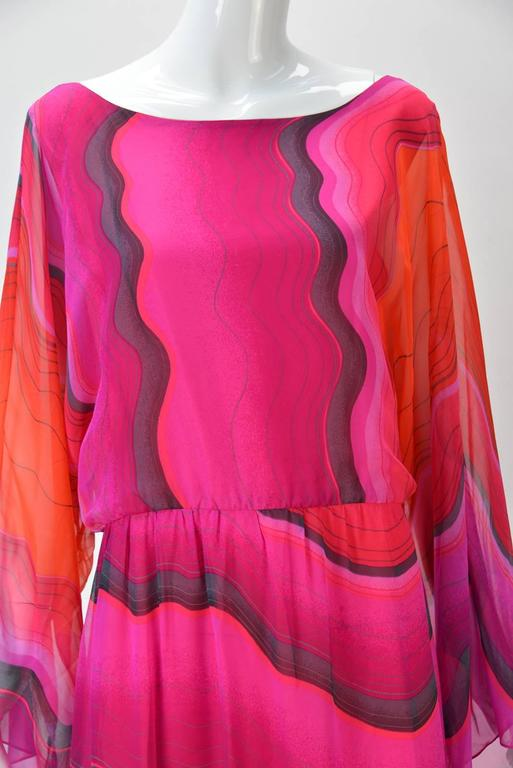 1980s Hanae Mori Silk Sunset Colored Kimono Sleeve Dress  In Good Condition For Sale In Houston, TX