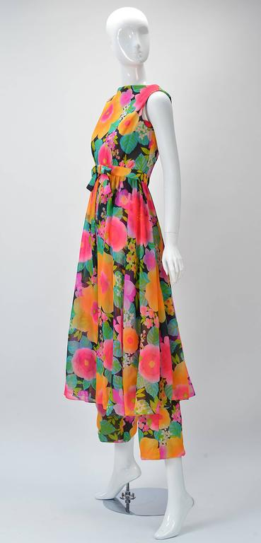 Wonderful 1960's Pat Sandler Floral Jumpsuit and Overdress solid the exclusive Silver Key shop of Neiman Marcus in the 1960's. 