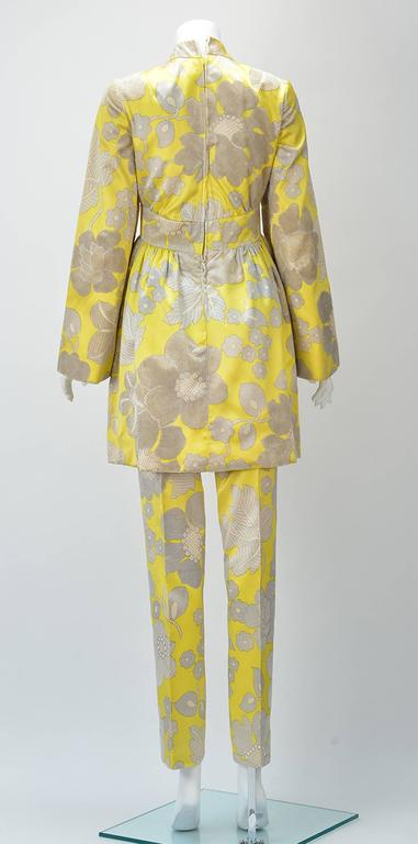 Brown 1960s George Halley Yellow Silk Tunic and Pant Suit  For Sale