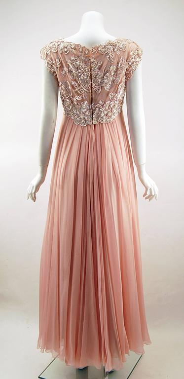 1960s Helen Rose Silk Pink Beaded Evening Gown   For Sale 1