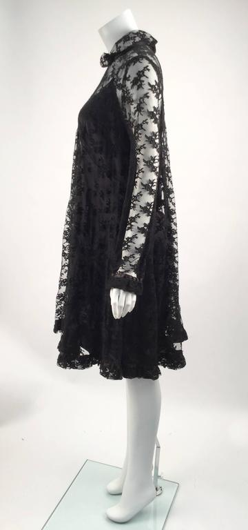 Black Chantilly Lace Custom Vintage Knee Length Dress, 1960s   For Sale 1