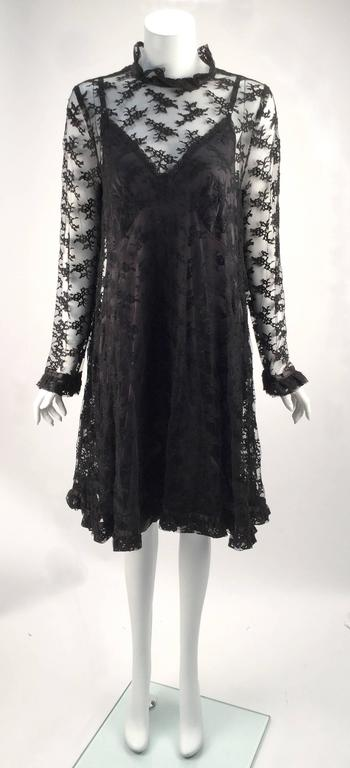Women's Black Chantilly Lace Custom Vintage Knee Length Dress, 1960s   For Sale