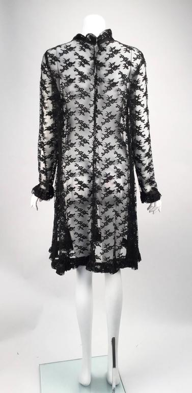 Black Chantilly Lace Custom Vintage Knee Length Dress, 1960s   In Excellent Condition For Sale In Houston, TX
