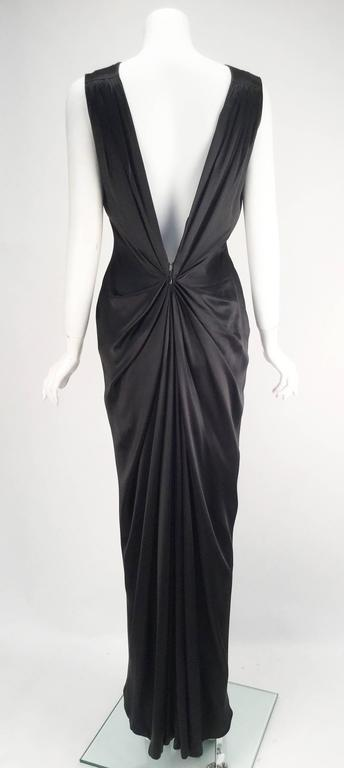 1990s Oscar de la Renta Backless Black Satin Evening Dress Gown In Good Condition For Sale In Houston, TX