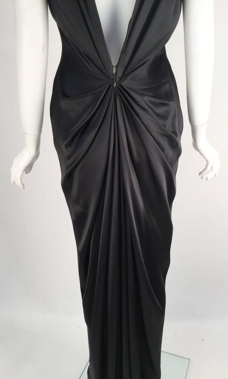 Women's 1990s Oscar de la Renta Backless Black Satin Evening Dress Gown For Sale