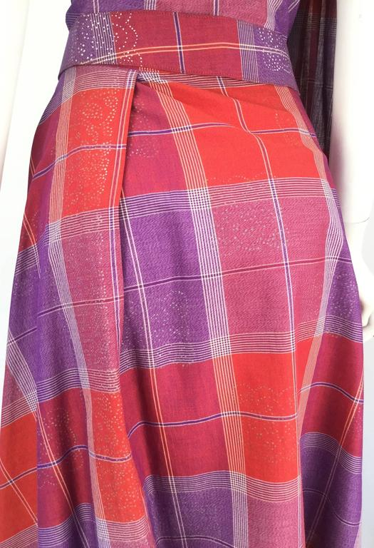 1940s Tina Leser Cotton Madras Dress With Sash 6