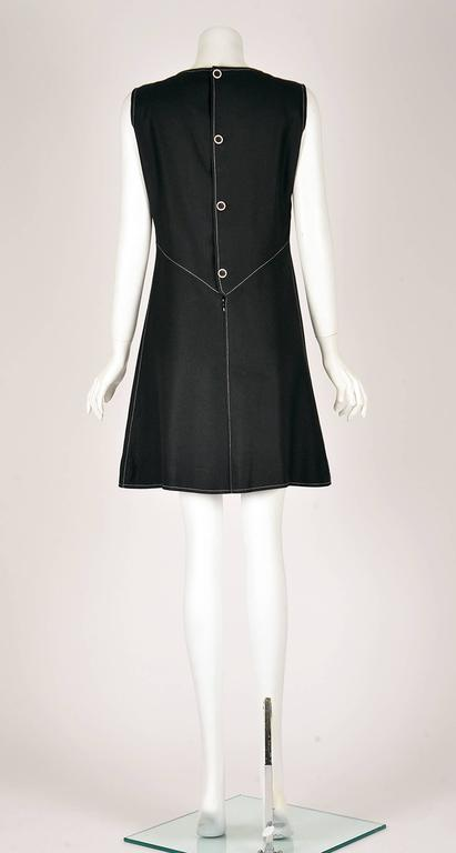 1980s Courreges Mod Style Black Dress  In Good Condition For Sale In Houston, TX