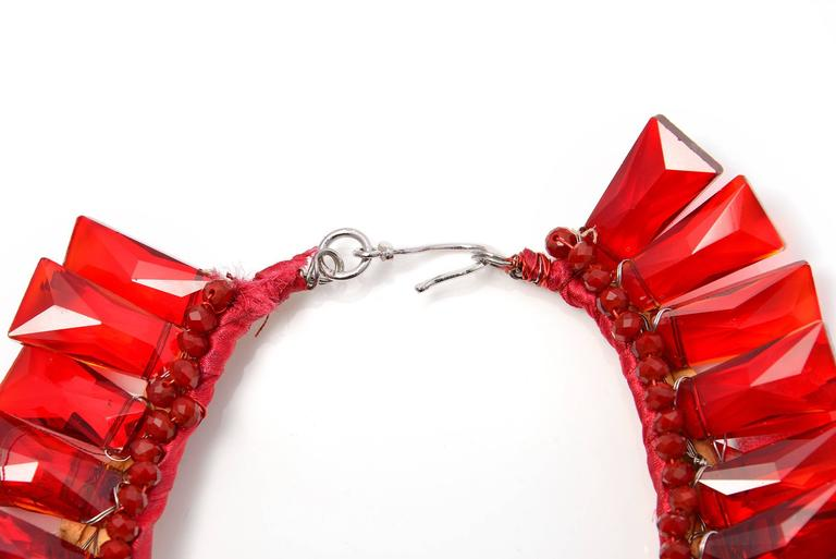 Vilaiwan Ruby Red Crystal Glass Faceted Necklace 4