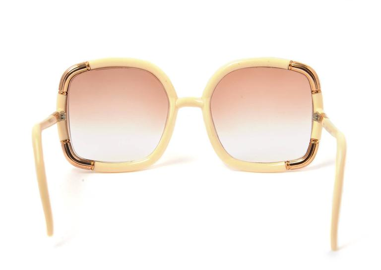 1970s Ted Lapidus Paris White and Gold Framed Sunglasses at 1stdibs